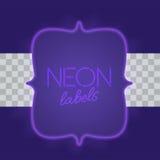 Marco eléctrico del vintage con las luces de neón brillantes Luz púrpura con resplandor transparente Ilustración del vector Imagen de archivo