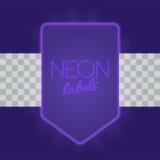 Marco eléctrico del vintage con las luces de neón brillantes Luz púrpura con resplandor transparente Ilustración del vector Fotos de archivo libres de regalías