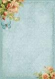 Marco elegante lamentable dulce con las flores y la mariposa Foto de archivo libre de regalías