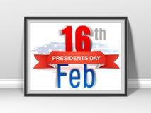 Marco elegante para la celebración americana de presidentes Day Foto de archivo libre de regalías