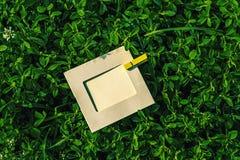 Marco en blanco con la pinza en la hierba al aire libre Foto de archivo