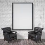 Marco en blanco con las butacas negras Mofa encima del cartel 3d rinden Fotografía de archivo libre de regalías