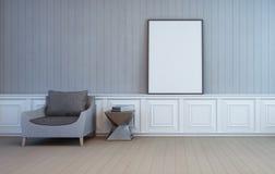 Marco en blanco del arte en la pared de la sala de estar Foto de archivo libre de regalías