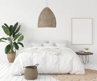 Marco en dormitorio, estilo escandinavo del cartel de la maqueta ilustración del vector