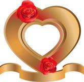 Marco en forma de corazón con las rosas Fotografía de archivo
