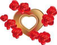 Marco en forma de corazón con las rosas Imágenes de archivo libres de regalías