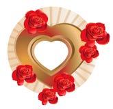 Marco en forma de corazón con las rosas Foto de archivo
