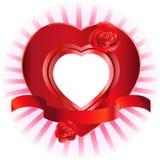 Marco en forma de corazón con las rosas Fotos de archivo libres de regalías