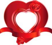 Marco en forma de corazón con las rosas Imagenes de archivo