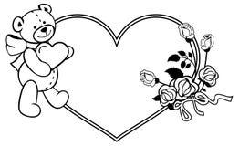 Marco en forma de corazón con las rosas del esquema, oso de peluche que lleva a cabo el corazón Imagen de archivo