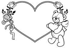 Marco en forma de corazón con las rosas del esquema, oso de peluche que lleva a cabo el corazón Fotografía de archivo libre de regalías