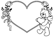 Marco en forma de corazón con las rosas del esquema, oso de peluche que lleva a cabo el corazón Fotos de archivo