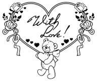 Marco en forma de corazón con las rosas del esquema, oso de peluche que lleva a cabo el corazón Fotografía de archivo