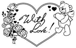 Marco en forma de corazón con las rosas del esquema, oso de peluche que lleva a cabo el corazón Imagen de archivo libre de regalías
