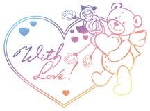 Marco en forma de corazón con las rosas del esquema, oso del color de la pendiente de peluche Imagen de archivo libre de regalías
