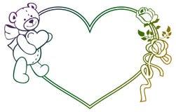Marco en forma de corazón con las rosas del esquema, oso del color de la pendiente de peluche que lleva a cabo el corazón Imagen de archivo libre de regalías