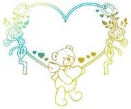 Marco en forma de corazón con las rosas del esquema, oso del color de la pendiente de peluche que lleva a cabo el corazón Fotos de archivo