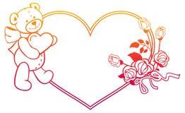 Marco en forma de corazón con las rosas del esquema, oso del color de la pendiente de peluche que lleva a cabo el corazón Foto de archivo