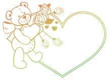 Marco en forma de corazón con las rosas del esquema, oso del color de la pendiente de peluche que lleva a cabo el corazón Imagenes de archivo