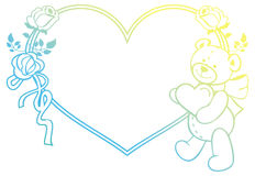 Marco en forma de corazón con las rosas del esquema, oso del color de la pendiente de peluche que lleva a cabo el corazón Fotografía de archivo libre de regalías