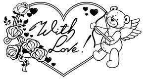 Marco en forma de corazón con las rosas del esquema y el oso de peluche con el arco Foto de archivo