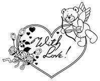 Marco en forma de corazón con las rosas del esquema y el oso de peluche con el arco y las alas Imagen de archivo libre de regalías