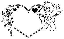 Marco en forma de corazón con las rosas del esquema y el oso de peluche con el arco y las alas Fotografía de archivo libre de regalías
