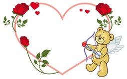 Marco en forma de corazón con las rosas y el oso de peluche Imagenes de archivo