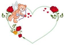 Marco en forma de corazón con las rosas y el oso de peluche Foto de archivo libre de regalías