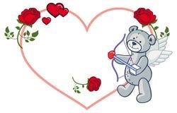Marco en forma de corazón con las rosas y el oso de peluche Imagen de archivo libre de regalías