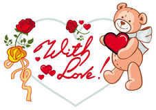 Marco en forma de corazón con las rosas y el oso de peluche que llevan a cabo el corazón Clip art de la trama Foto de archivo libre de regalías