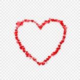 Marco en forma de corazón fino del vector, pequeños corazones rojos y rosados, ejemplo stock de ilustración