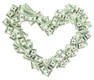 Marco en forma de corazón hecho con los billetes de banco del dólar Imagen de archivo libre de regalías