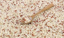 Marco entero del arroz moreno con la cuchara de madera Foto de archivo