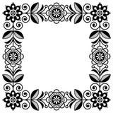 Marco escandinavo del vector del arte popular, frontera floral linda, modelo cuadrado con las flores monocromáticas - invitación, fotografía de archivo libre de regalías