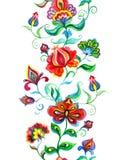- Marco europeo - frontera floral inconsútil del este étnica con las flores nativas watercolor stock de ilustración