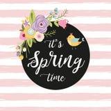 Marco exhausto de la mano del vintage con tiempo de primavera rústico lindo del texto escrito de las flores y de la mano de la pr ilustración del vector