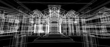 Marco exterior del alambre de la perspectiva del concepto 3d del diseño de la arquitectura que rinde el fondo negro libre illustration