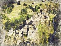 Marco famoso de Hevsureti em Geórgia - ruínas do vill medieval foto de stock