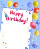 Marco festivo con feliz cumpleaños Fotos de archivo libres de regalías