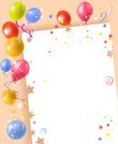Marco festivo con los globos y el confeti Fotos de archivo libres de regalías