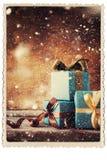 Marco festivo de la foto del vintage de las cajas de los regalos de la Navidad Foto de archivo