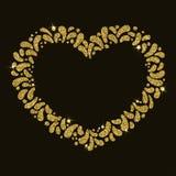 Marco festivo del corazón del oro del vector Ornamento de descensos que brillan Para el carnaval, fest, tema del amor, par, día d foto de archivo libre de regalías