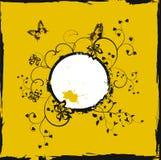 Marco floral amarillo de Grunge con las mariposas Fotografía de archivo