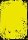 Marco floral amarillo de Grunge con las mariposas Imagen de archivo