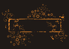 Marco floral anaranjado de Grunge   Foto de archivo libre de regalías