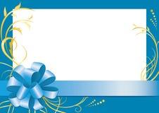 Marco floral azul con el centro blanco Fotos de archivo