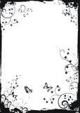 Marco floral blanco de Grunge con las mariposas Fotografía de archivo