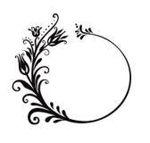 Marco floral blanco y negro Fotos de archivo