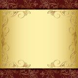Marco floral con el oro y el fondo marrón - EPS Fotografía de archivo